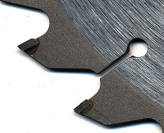Cemented carbide - Circular saw blade with tungsten-carbide inserts
