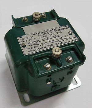Transformer - Instrument transformer, with polarity dot and X1 markings on LV side terminal