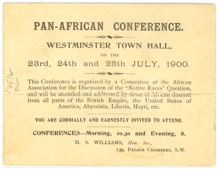 Invitation to Pan-African Conference at Westminster Town Hall July 1900