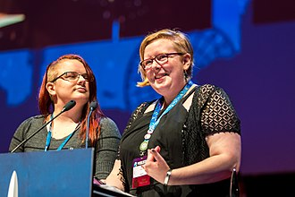 Hugo Award for Best Fanzine - Ira and Susan accepting the 2017 Hugo Award for Best Fanzine for Lady Business