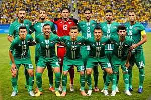 Iraq national under-23 football team - Iraq line-up before a match with Brazil at the 2016 Rio Olympics