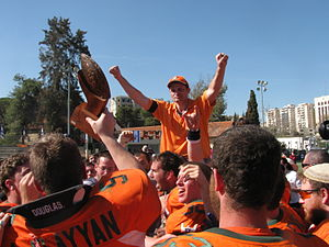 Israeli Football League - Judean Rebels with Becker Trophy, celebrating the victory in Israel Bowl IV