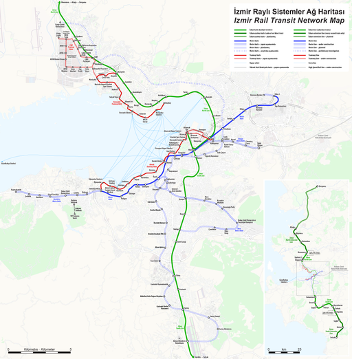 Izmir Rapid Transit Map