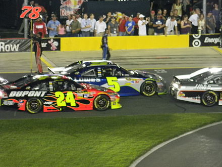 Jeff Gordon's No. 24 DuPont Chevrolet and Jimmie Johnson's No. 5 Lowe's Chevrolet during the 2011 All-Star Race JG 24 and JJ 48 - Charlotte 2011.jpg