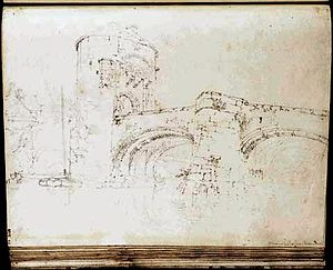Monnow Bridge - Sketch by J. M. W. Turner, 1795