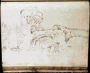 Monnow Bridge - Sketch by J. M. W. Turner, 1795