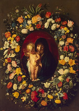 Andries Daniels - Garland of flowers with Virgin and Child