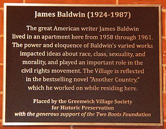 James Baldwin - Historic Plaque unveiled by Greenwich Village Society for Historic Preservation at 81 Horatio Street, where James Baldwin lived in the late 1950s and early 1960s during one of his most prolific and creative periods