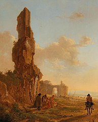 An Italianate landscape with ruins