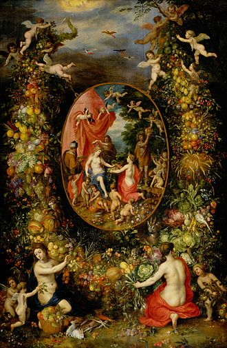 Hendrick van Balen - Garland of Fruit surrounding a Depiction of Cybele Receiving Gifts from Personifications of the Four Seasons