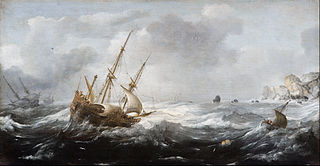 Ships in a Storm on a Rocky Coast