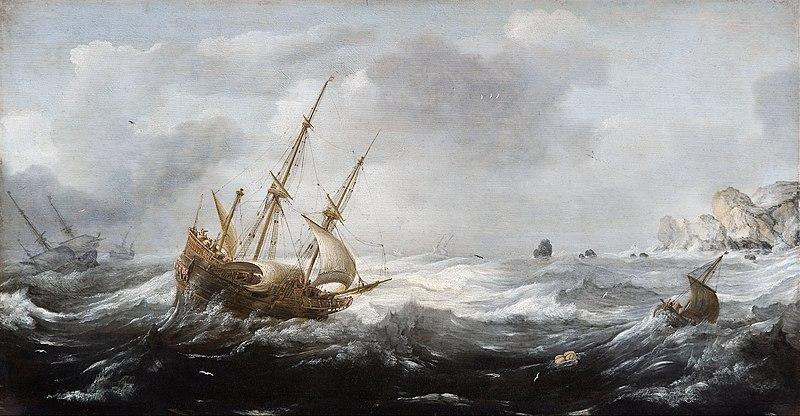 File:Jan Porcellis - Ships in a Storm on a Rocky Coast - Google Art Project.jpg
