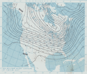 Cold Sunday - National Weather Service 500 millibar height contour map from January 17, 1982.