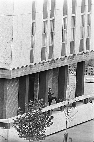 1974 French Embassy attack in The Hague - A helmed policeman stands at the entrance of the French Embassy during the siege, 15 September 1974.