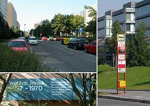 Vojtěch Jarník - Jarníkova Street, the Jarníkova bus stop, and a commemorative sign honoring Jarník