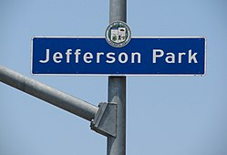 Jefferson Park sign located at Jefferson Boulevard and 4th Avenue