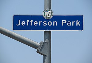 Jefferson Park, Los Angeles - Jefferson Park sign located at Jefferson Boulevard and 4th Avenue