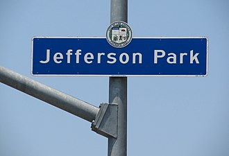 Jefferson Park, Los Angeles - Jefferson Park city signage located at Jefferson Boulevard and 4th Avenue