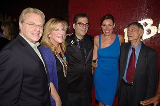 Michael Musto - Jerry Springer, Lisa Lampanelli, Musto, Luann de Lesseps and Larry Storch at the 2011 launch party for Musto's book Fork on the Left, Knife in the Back