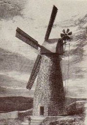 """William Coles Finch - Jaffa Gate Mill, Jerusalem. Picture originally published in Illustrated London News and republished in """"Watermills and Windmills"""" by William Coles Finch, first published in 1933."""