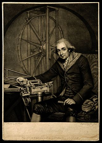 Jesse Ramsden - Mezzotint by J. Jones, 1790, after Robert Home. This, the only portrait of Ramsden shows him with the dividing engine in front of him and a great circle made for the Palermo Astronomical Observatory behind him. Ramsden never wore fur coats but the artist added it because the painting commemorated an order from the Czar of Russia that Ramsden had worked on.