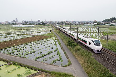 Lotus field and Joban Line Joban Line in Tsuchiura City 01.jpg