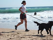 Jogging with dog at Carcavelos Beach.jpg
