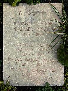 Johann Jakob Balmer-Rinck (1825–1898), Lehrer, Forscher («Balmersche Formel»), Mathematiker, Physiker. Grab auf dem Friedhof Wolfgottesacker, Basel