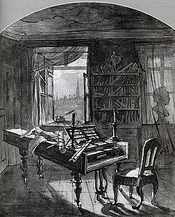 Atelier de Beethoven à la Schwarzspanierhaus, sa dernière résidence, en 1827. Tableau de J.N. Hoechle.