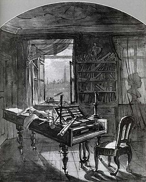 Johann Nepomuk Hoechle - Beethoven's Study at the Schwarzspanierhaus.