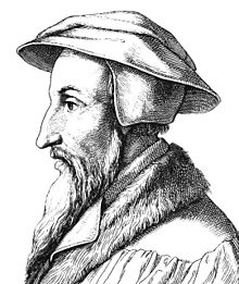 A profile line drawing of Calvin