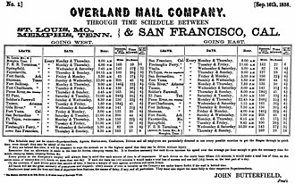 Butterfield Overland Mail - John Butterfield's Overland Mail Company time schedule dated September 16, 1858