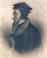 Lukisan gravir dari lukisan minyak asli di Perpustakaan Universitas Jeneva; lukisan ini dianggap paling mirip dengan Calvin.