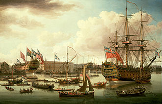 HMS Royal George (1756) - Image: John Cleveley the Elder, The Royal George at Deptford Showing the Launch of The Cambridge (1757)