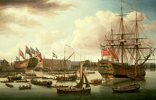 John Cleveley the Elder, The Royal George at Deptford Showing the Launch of The Cambridge (1757)