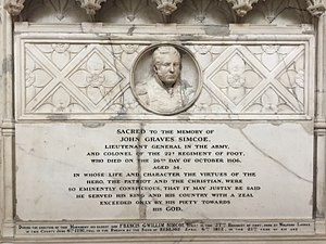 John Graves Simcoe - Memorial in Exeter Cathedral
