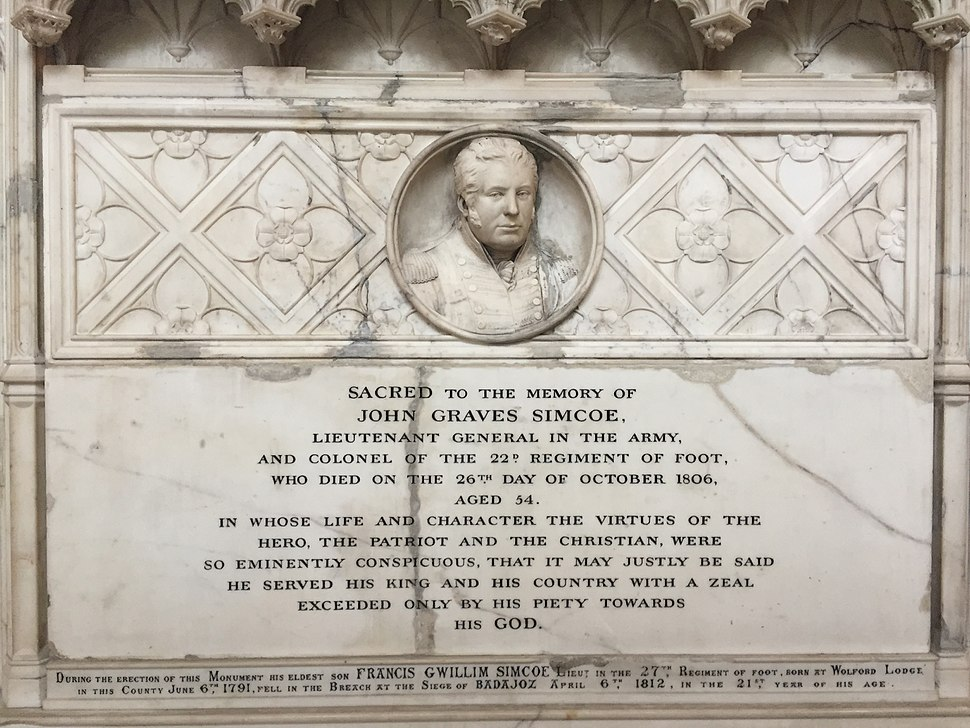 John Graves Simcoe Memorial, Exeter Cathedral