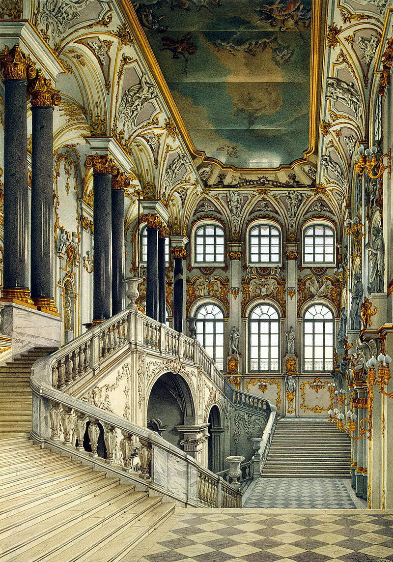 Picture showing the Johrdan staircase inside the Winter Palace, St. Petersburg