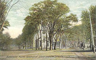 Waterville, Maine - Silver and Elm streets (1910), showing the Universalist Church, which was established in 1832