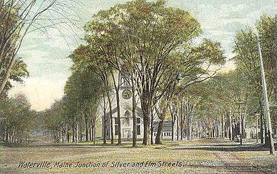 Silver and Elm streets (1910), showing the Universalist Church, which was established in 1832 Junction of Silver & Elm Streets, Waterville, ME.jpg
