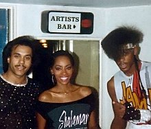 From personal collection of photos taken with a personal camera, a candid backstage photo of Howard Hewett, Jody Watley and Jeffrey Daniel in 1983.
