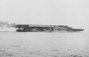 Japanese aircraft carrier Kaga - Kaga undergoing post-launch trials off Tateyama, 15 September 1928.