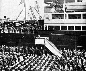 USS Huron (ID-1408) - Kaiser Wilhelm II of Germany addresses troops on 27 July 1900 in front of SS Friedrich der Grosse prior to their departure for China to aid in putting down the Boxer Rebellion