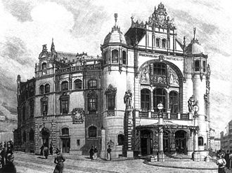 """Vienna Volksoper - Xylography published 19. January 1899 in """"Leipziger Illustrierte"""""""