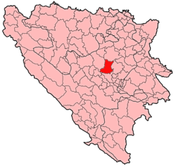 Location of Kakanj within Bosnia and Herzegovina.