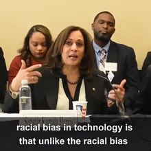 US Senator Kamala Harris speaks about racial bias in artificial intelligence.