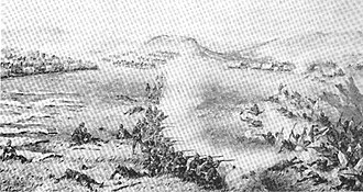 Battle of Kambula - The closing stages of the battle of Kambula. A company of the 1/13th in the foreground are driving the Zulus back into the ravine.