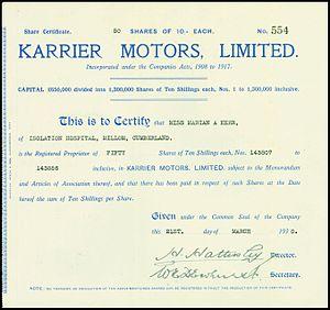 Karrier - Share certificate of Karrier Motors Ltd, issued 21 March 1930