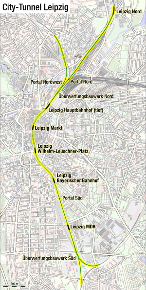 Leipzig City Tunnel - Tunnel route, including adjacent ground-level tracks