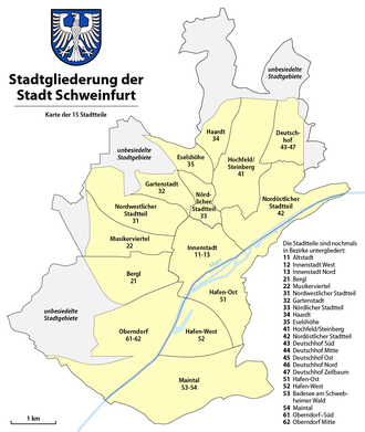Districts of the city of Schweinfurt